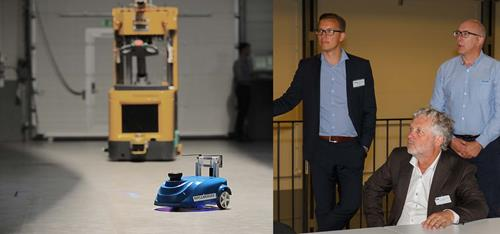 Mobile robot - visit by the Swedish Minister for Digital Development